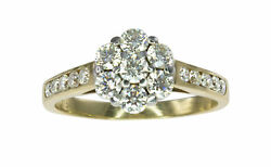 Solid 9k Yellow Gold 1.00ct HSI Diamond Flower Cluster Engagement Ring #119982