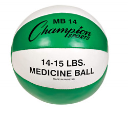 Medicine Ball Sports Leather Covering Green White 15.43Lbs Weigthed $48.99