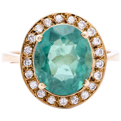$10000 Appraisal - Women's Estate Colombian Emerald Ring in 18k Gold w Diamonds