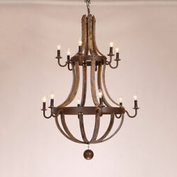 Rustic Candle-Shaped Pendant Lights Reclaimed Wood & Rust Metal Chandelier Lamps