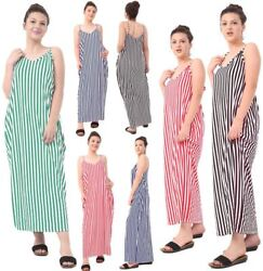 Womens Striped Lagenlook Strappy Maxi Dress Ladies Fancy Party Wear Long Dress GBP 14.99