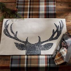 RUSTIC LIVING Park Designs ANTLERS Placemats TAN BLACK PRINTED PLACE MAT $6.95