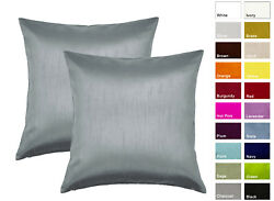 Aiking Home Solid Faux Silk Decorative Pillow Cover Pack of 2 $13.99