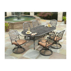 7 Piece Dining Set Large Table 6 Swivel Chairs Outdoor Patio Garden Furniture