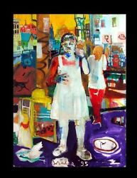 Large Colorful Painting Summer Streets By Rodney Artiles