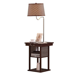 Brown Bed Side Table Shade Lamp LED Living Room End Floor USB Electric Outlet $151.99