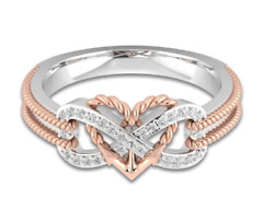 Gold and Silver colored Zircon Heart Infinity Ring - Size 6-10 She will love it