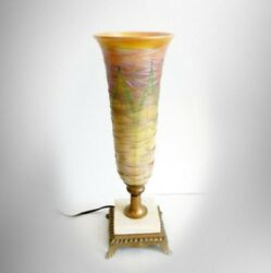 Durand tall art glass lamp with pulled feather shade