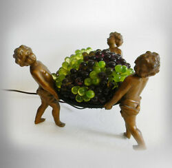 Vintage French lamp with cherubs and grapes art glass shade $3780.00