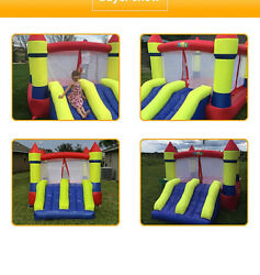 2 Slide Inflatable Bouncy Air Bounce House Yard Playground with Free Blower