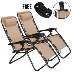Set Of 2 Zero Gravity Chairs Folding Lounge Patio Outdoor Recliner Beach Chair