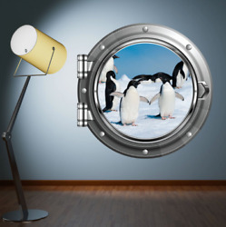 Porthole Wall Decal Penguin Arctic Wall Art Stickers Kids Bedroom Mural WSD623 $31.99