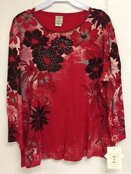Jess and Jane Flora Image Red and Black Floral Flowers Shirt Size New with Tags