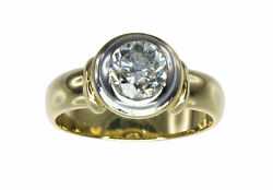 REDUCED 18k Yellow Gold Solitaire 1.00ct Diamond Bezel Engagement Ring #68907