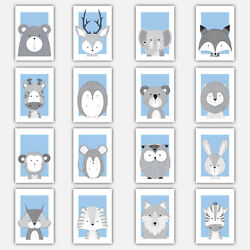 Art Print FOREST ANIMAL SKETCH Picture Poster BABY BLUE amp; GREY Nursery Wall GBP 14.50