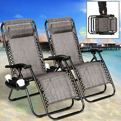2 PCS Zero Gravity Chairs Folding Lounge Patio Beach Chairs With Cup Holders $88.99