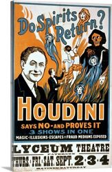 Solid-Faced Canvas Print Wall Art entitled Houdini poster art for magic show