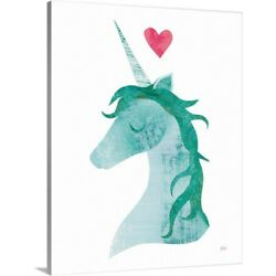 Solid-Faced Canvas Print Wall Art entitled Unicorn Magic II Heart