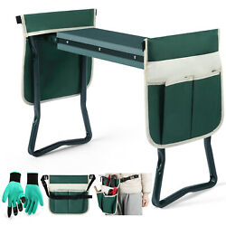 Folding Garden Kneeler Seat W/2 Bonus Tool Pouch Portable Stool Pad Soft Cushion $39.99
