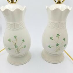 Belleek Parian Tara 22quot; Pair Lamps Hand Crafted Porcelain Shamrock Shades $224.95