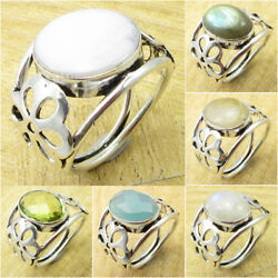 925 Silver Plated White MOTHER OF PEARL & Other Gemstones ! LATEST STYLE Ring