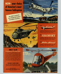 1953 PAPER AD Toy Helicopters For Industry Army Hiller Hornet Sikorsky Piasecki $30.38