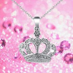 Charm Jewelry Crystal Crown Pendant Necklace Long  Chain Queen Rhinestones