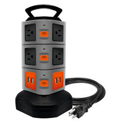 10 Outlet Plugs 4 USB Power Strip Tower Surge Protector Charging Station $24.99