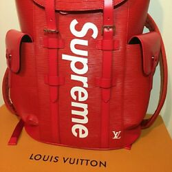 Louis Vuitton x Supreme Christopher Backpack Epi PM Red With Genuine Box Packing