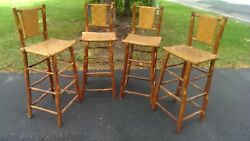Antique old hickory Indiana Willow Adirondack four rustic bar stools camp cabin