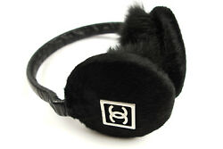 Authentic Chanel Fur Ear Warmers Black Accessory Logo CC Earmuffs