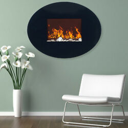 Electric Fireplace Northwest Black Oval Glass with Wall Mount Home Indoor Accent