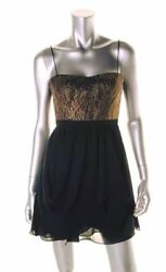 New Women#x27;s Authentic AQUA Cocktail Chiffon Sweetheart Black Gold Drape Dress 6 $31.95