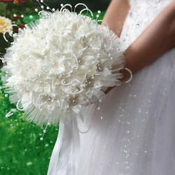 Fashion Silk Crystal Pearl Artificial Rose Flowers Wedding Bridal Bouquet