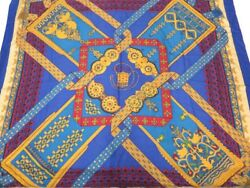 HERMES Scarf Carre 140 Brins D Or Cashmere Silk Blue Ladies Free Ship EC #1304