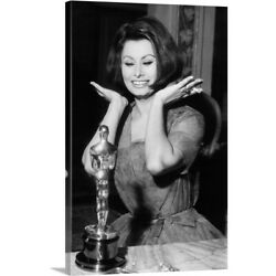 Solid-Faced Canvas Print Wall Art entitled Sophia Loren as she receives the