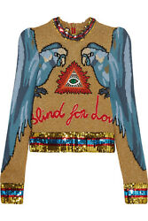GUCCI APPLIQUED SEQUIN-EMBELLISHED INTARSIA KNITTED SWEATER