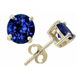 14K SOLID YELLOW GOLD BLUE SAPPHIRE ROUND CUT STUD PUSH BACK EARRINGS $57.98