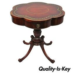 Antique Regency Style Red Tooled Leather Top Carved Mahogany Lamp Drum Table $595.00