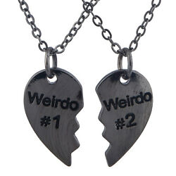 Lux Accessories Black Friendship Weirdo #1 #2 Heart Shaped Engraved Necklace