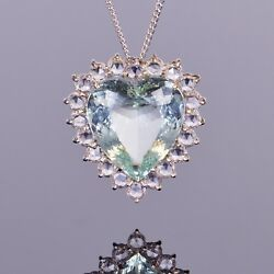 Green Beryl Heart Pendant with White Sapphires in 14k White Gold
