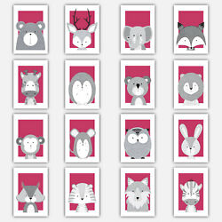 Art Print FOREST ANIMAL SKETCH Picture Poster Bright PINK GREY Nursery Baby Wall GBP 19.50