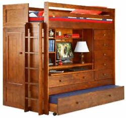 Bunk Bed Paper Plans All In 1 Loft With Trundle Desk Chest Closet High Quality