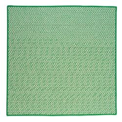 Grass Green Houndstooth Tweed Indoor Outdoor Square Braided Rug ~ Made in USA
