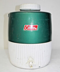Vintage 1987 Green Metal Coleman 2 Gallon Water Jug w Fast Flo Button and Cup $18.00
