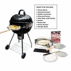 Pizza Grill Outdoor Accessories Grilling Set With Charcoal Stone Pan Kettle Kit