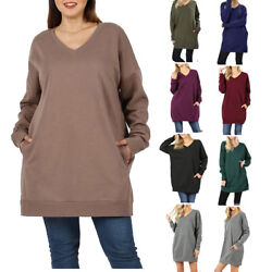 Womens V Neck Over sized Pullover Sweater Tunic Long Sleeve With Side Pockets $13.95