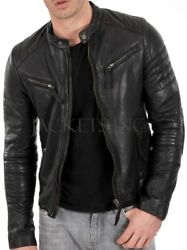 New Men#x27;s Genuine Lambskin Leather Jacket Black Slim fit Biker jacket B54 $49.99