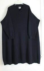 NEW Eskandar OS BLACK 100% Cashmere V-Neck Plush Luxury A-Line Sweater Dress