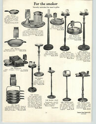 1923 PAPER AD 2 Sided Smoker Floor Ash Tray Cabinets Stand Tobacco Jar